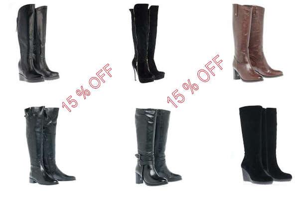 Δωρεάν κουπόνι που προσφέρει 15% έκπτωση σε όλες τις γυναικείες μπότες για τις αγορές που θα κάνετε από το ηλεκτρονικό κατάστημα.